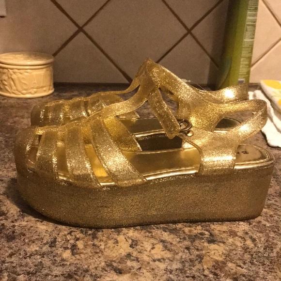 7e2e840835a8 BAMBOO Shoes - Platform Gold Glitter Jelly Sandals !